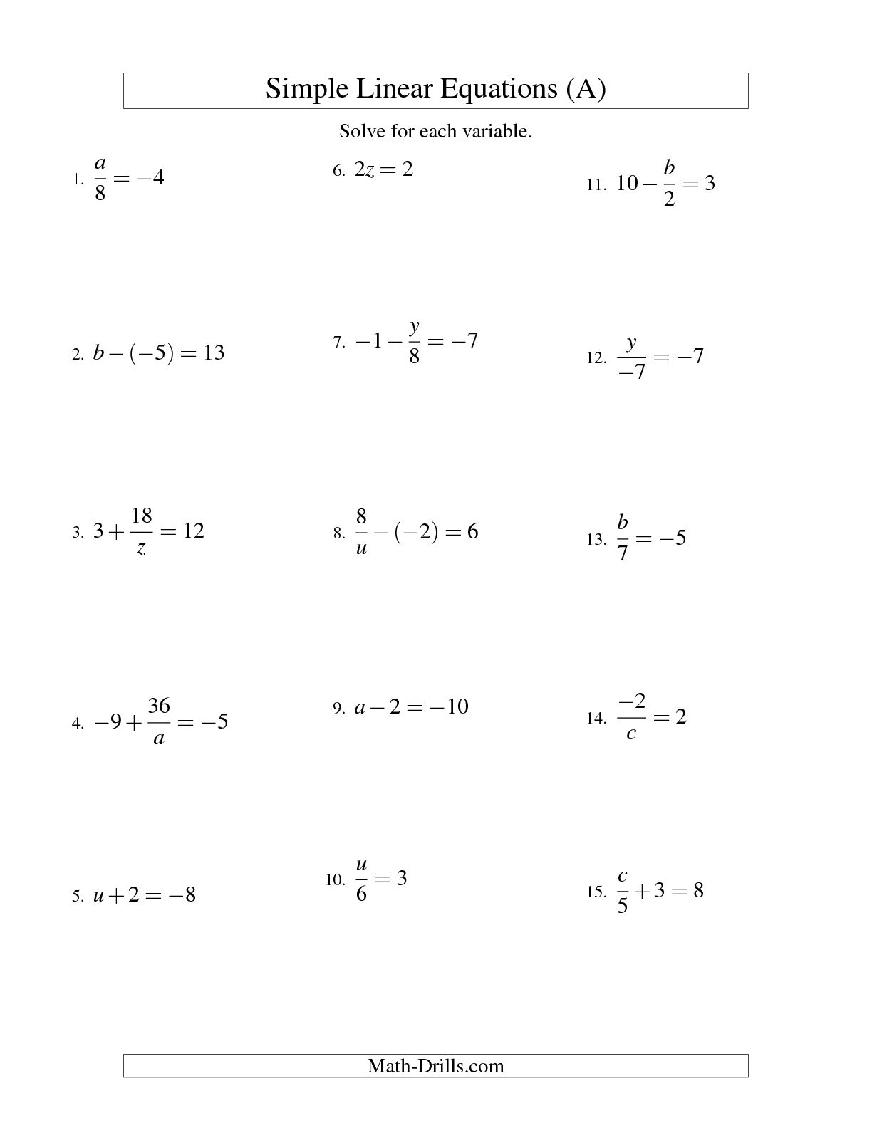 12 Best Images Of Solving Linear Equations Worksheets
