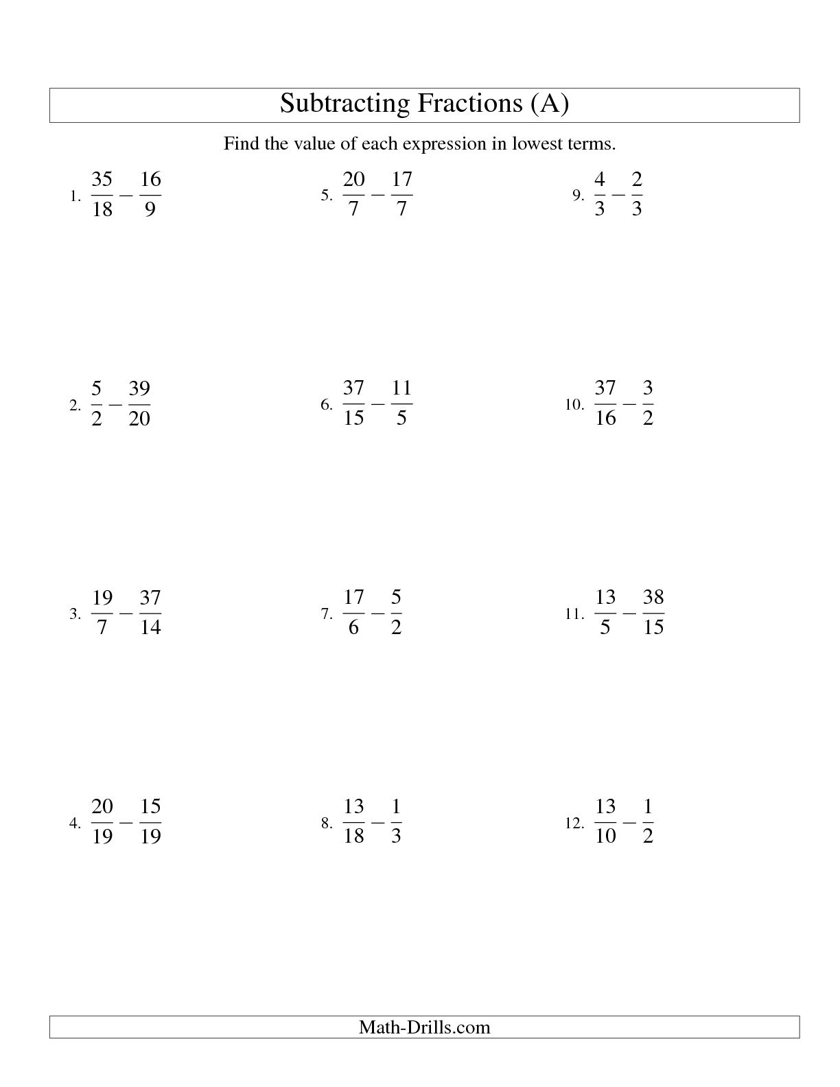 9 Best Images Of Fraction Worksheets For 12th Grade