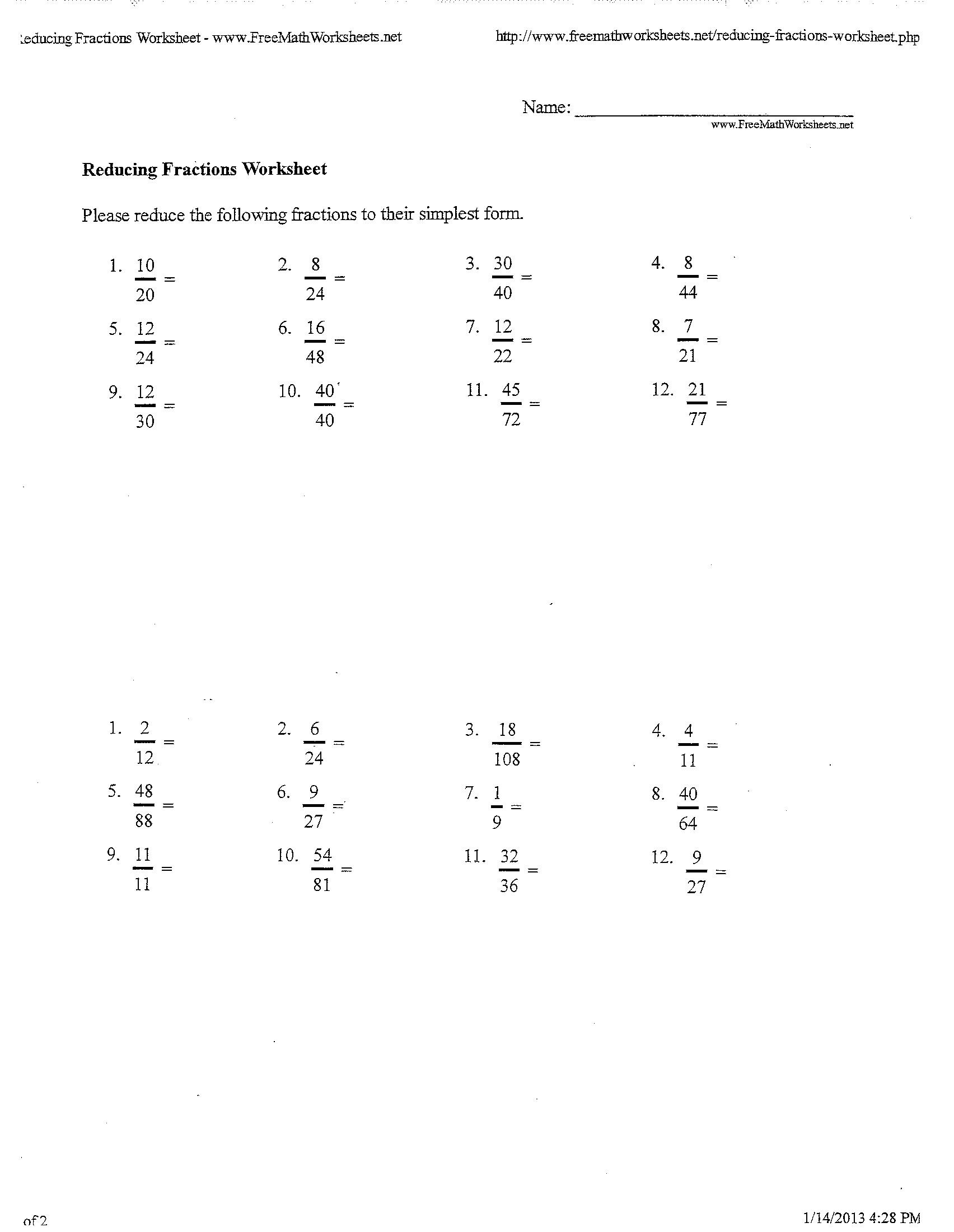 9 Best Images Of Fraction Worksheets For 12th Grade