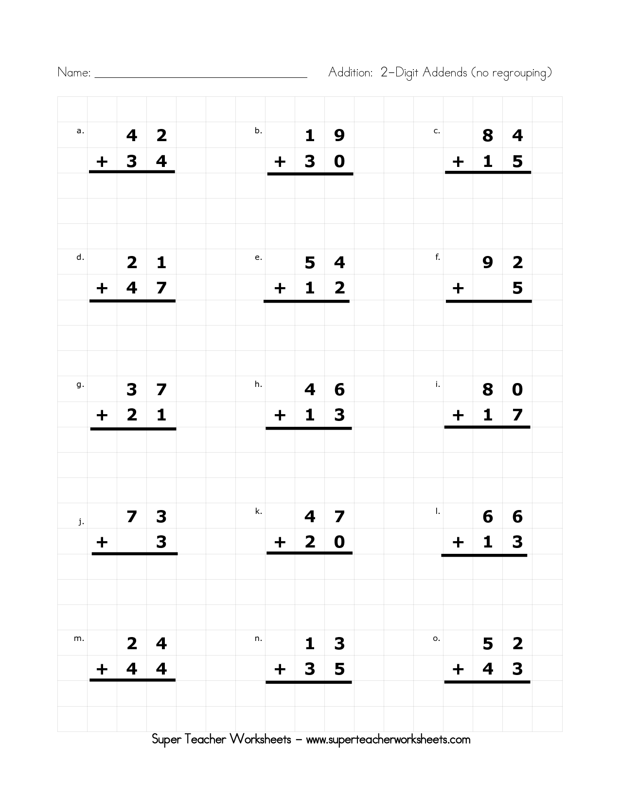 17 Best Images Of 2 Digit Addition Without Regrouping Worksheets 2nd Grade