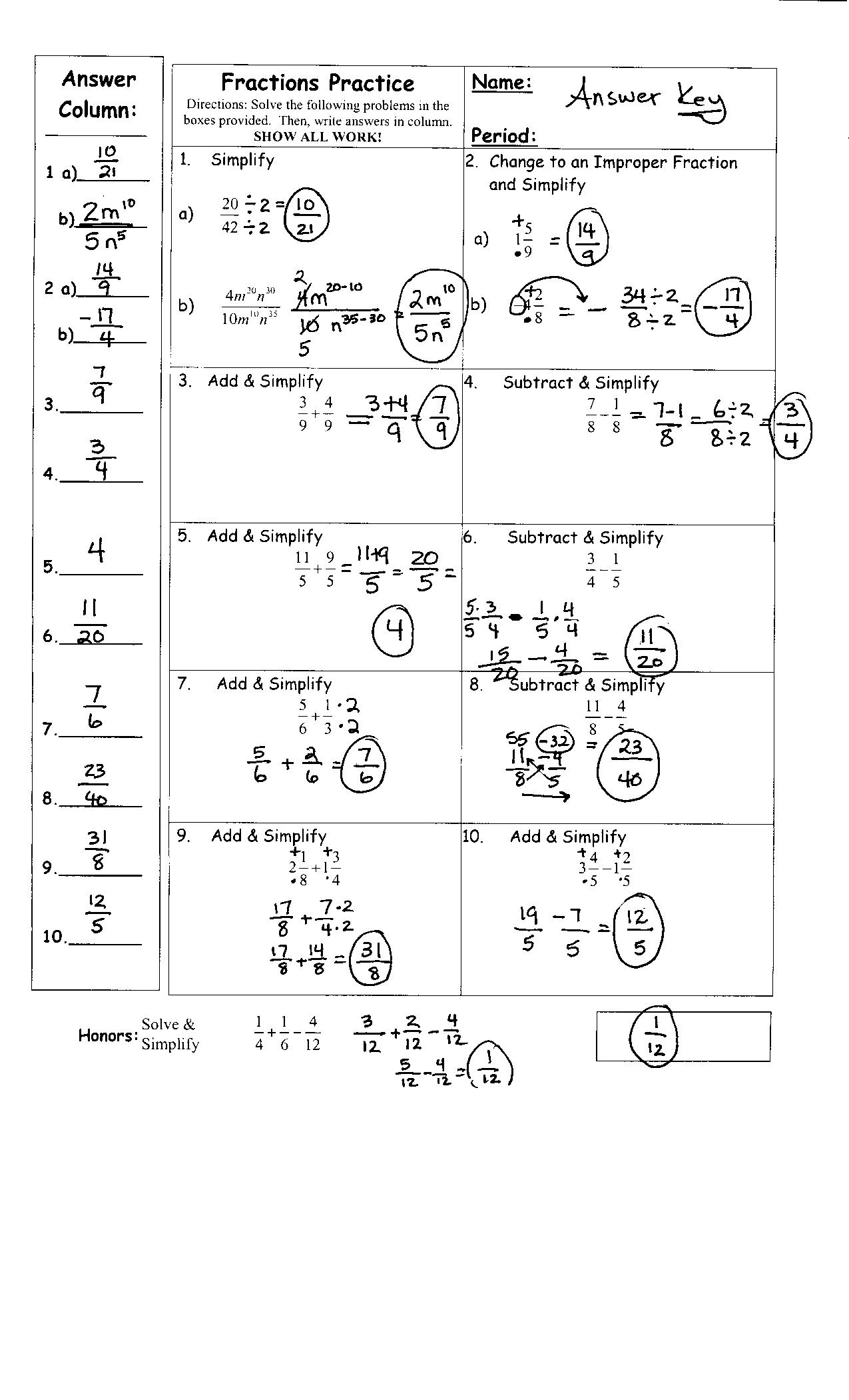 10 Best Images Of Fraction Worksheets With Answer Key