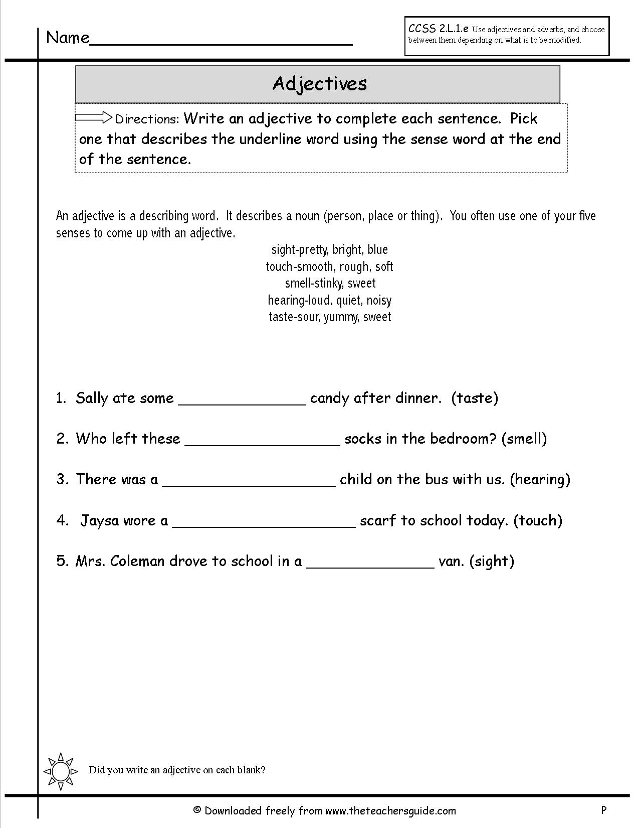 Teaching Adjectives Worksheet