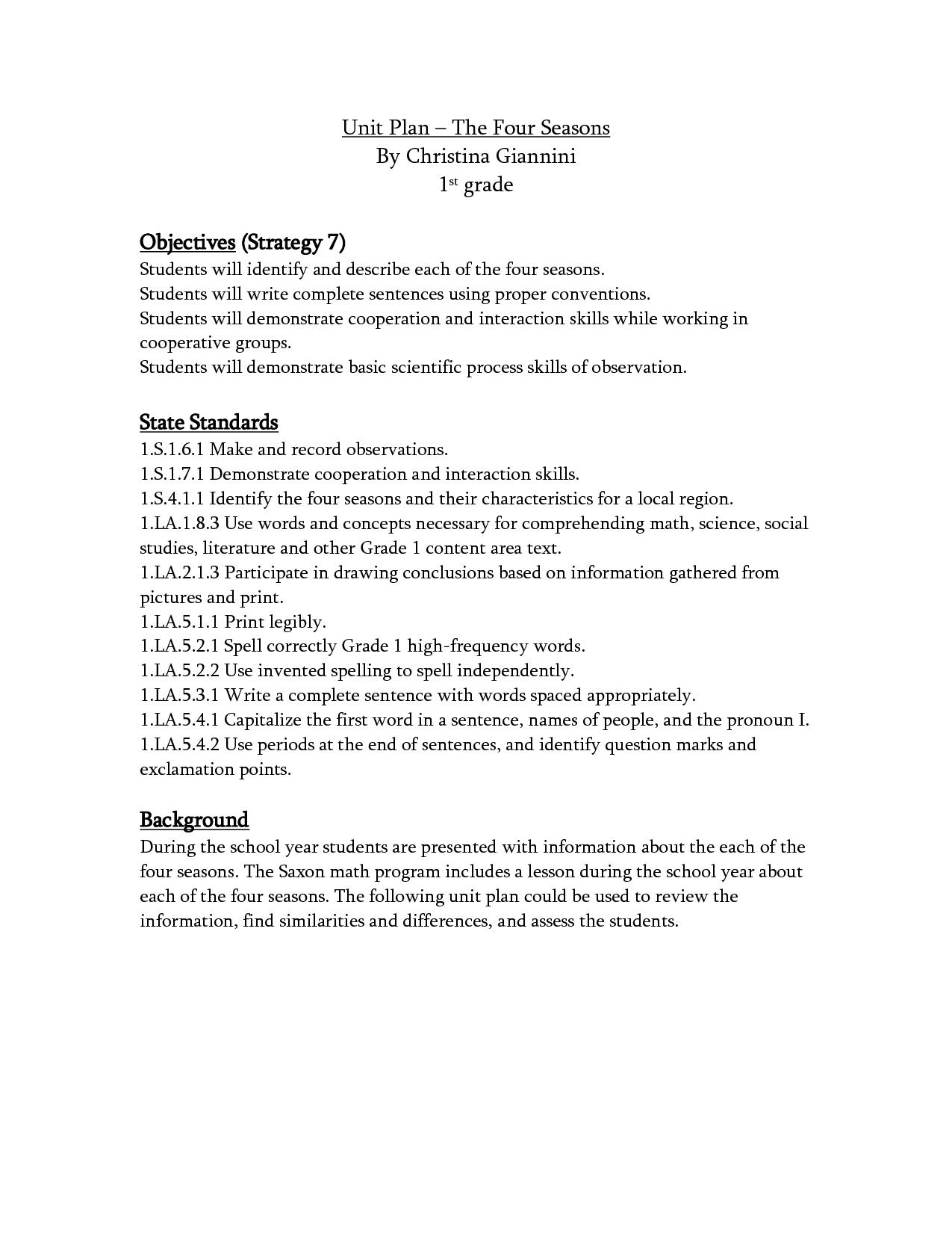 First Grade Language Arts Worksheet