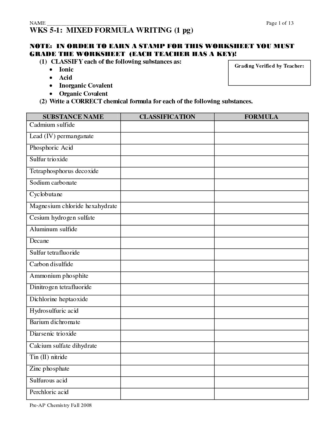 Molecular Naming Worksheet