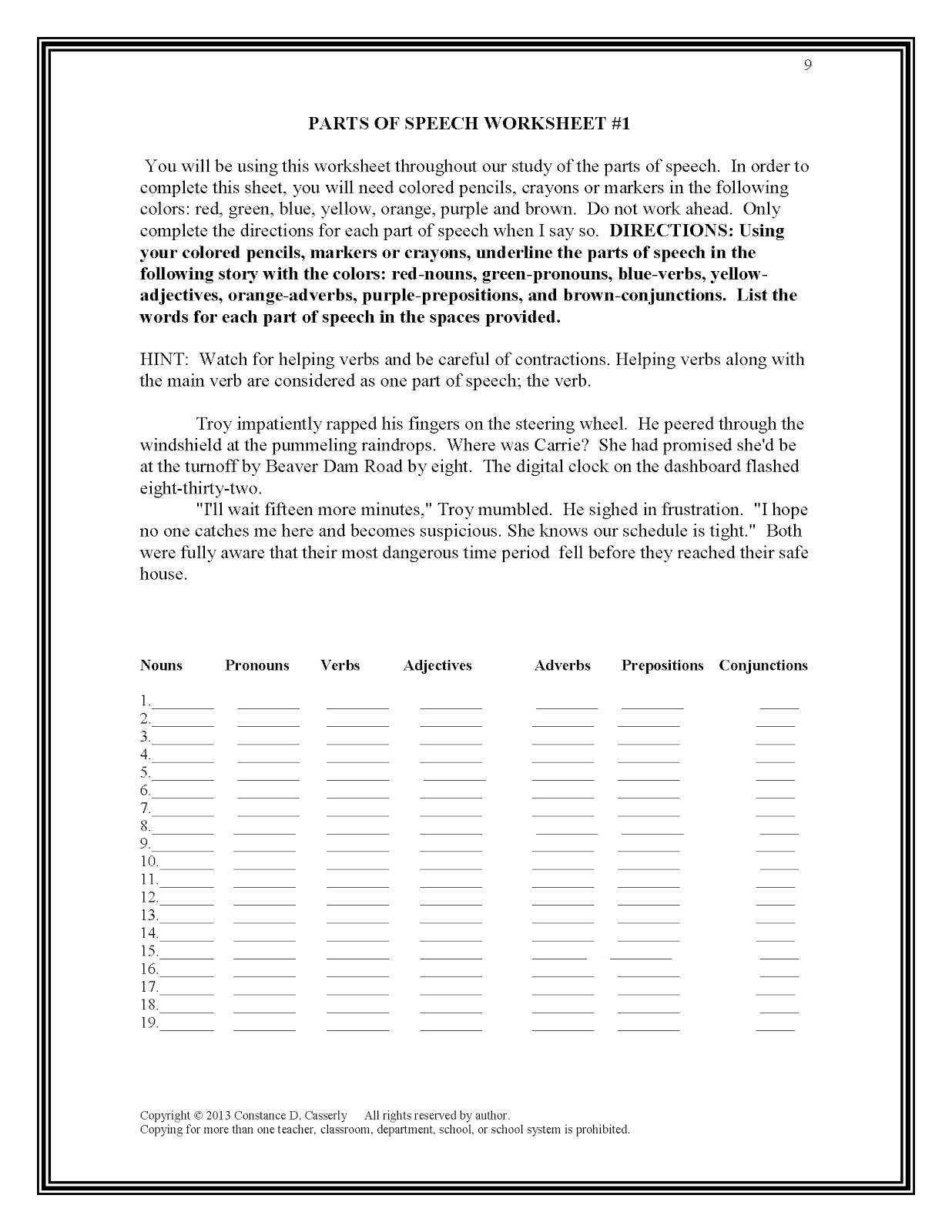 18 Best Images Of Parts Of Speech Fun Worksheets
