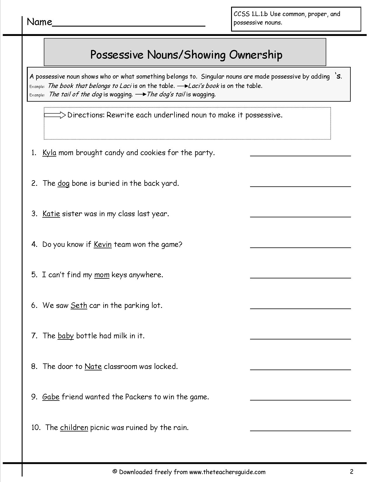 17 Best Images Of Worksheets Possessive Nouns