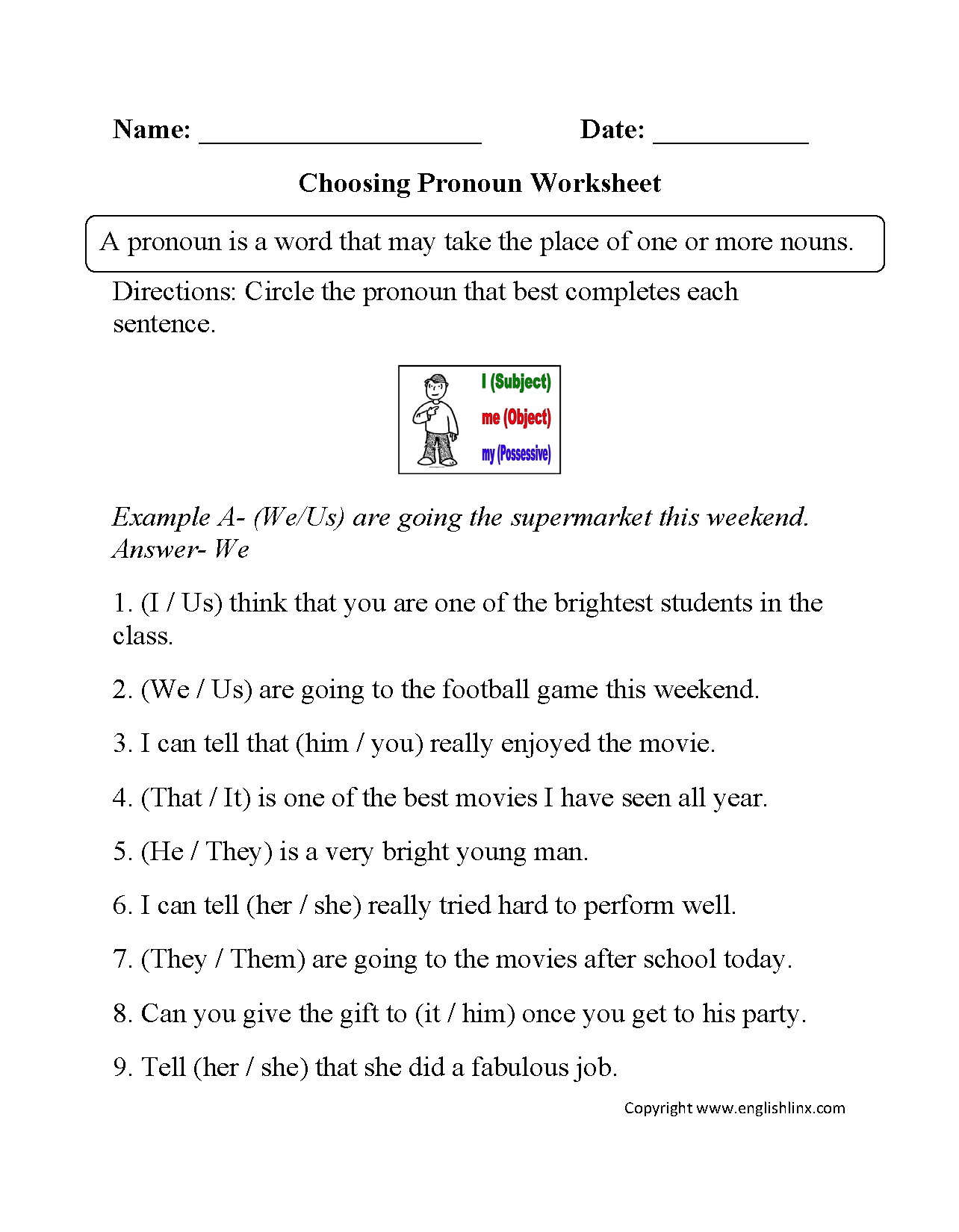 Worksheet On Demonstrative Pronouns For Grade 4