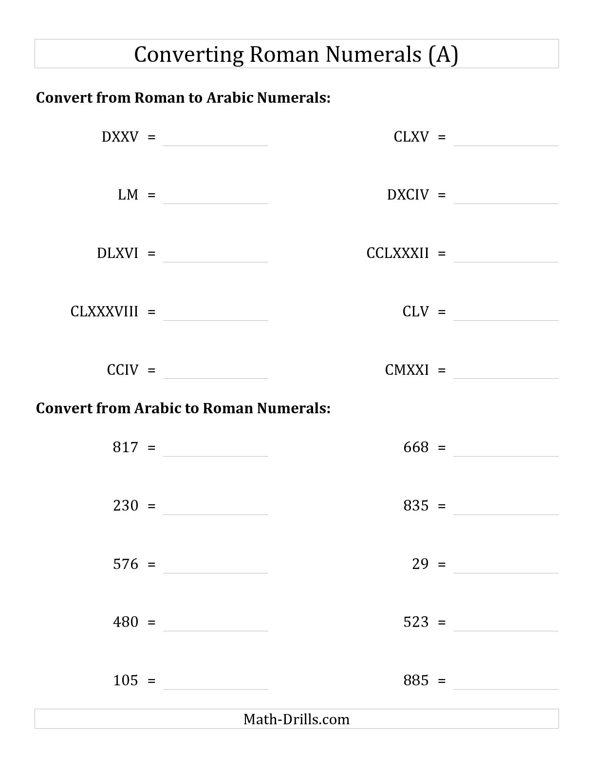 5 Best Images Of Roman Numerals Worksheets