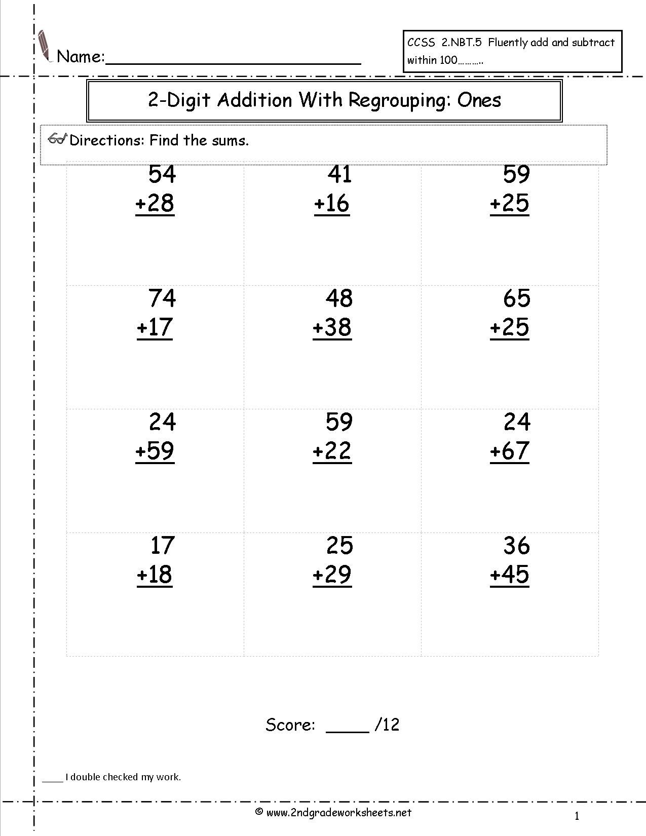 17 Best Images Of 2 Digit Addition Without Regrouping
