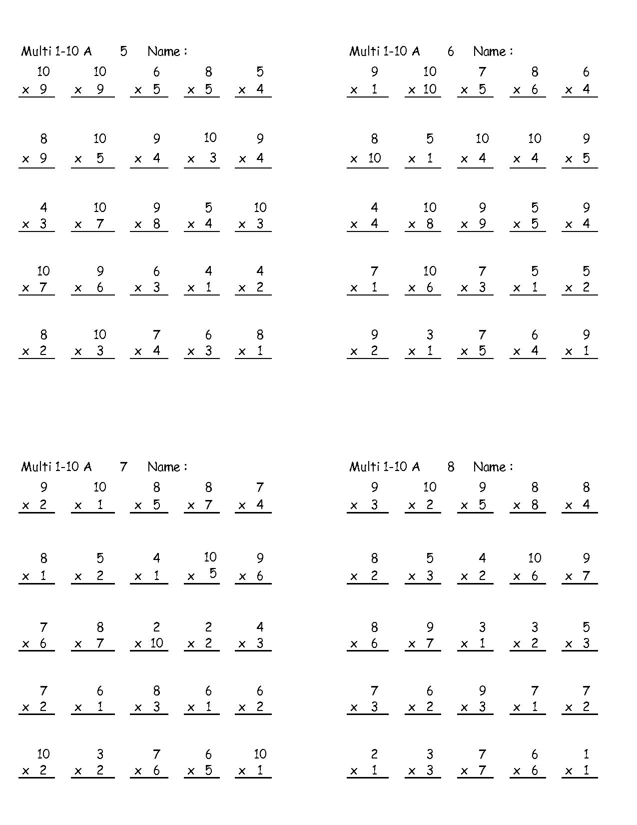 16 Best Images Of Multiplication Worksheets Elementary