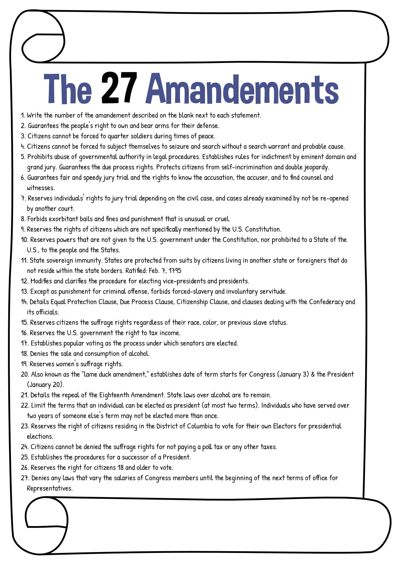 19 Best Images Of All Amendment Worksheet