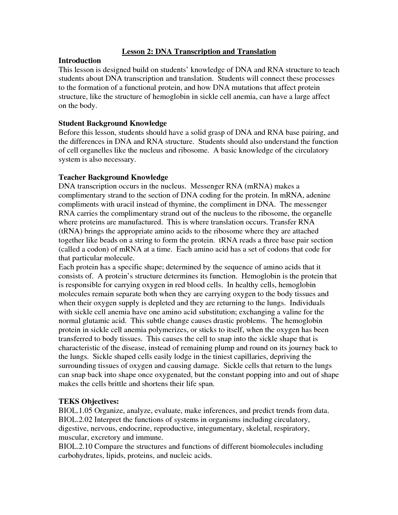Transcription And Translation Worksheet Homeschooldressage