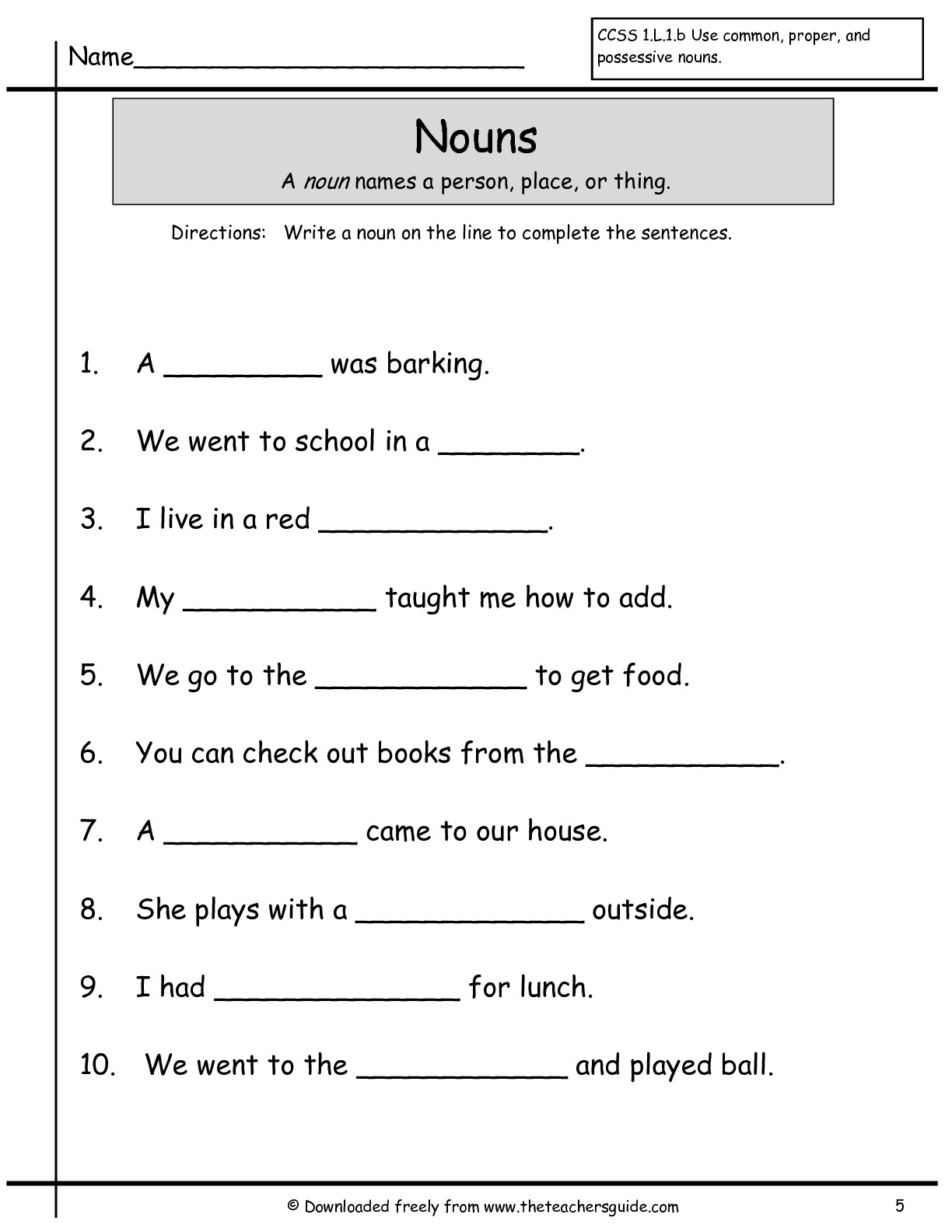 14 Best Images Of Noun Verb Adjective Printable Worksheets