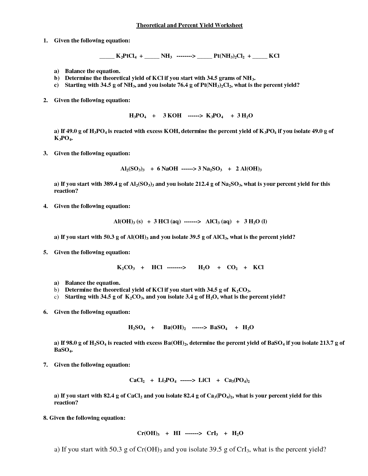 Percent Worksheet With Answer Key