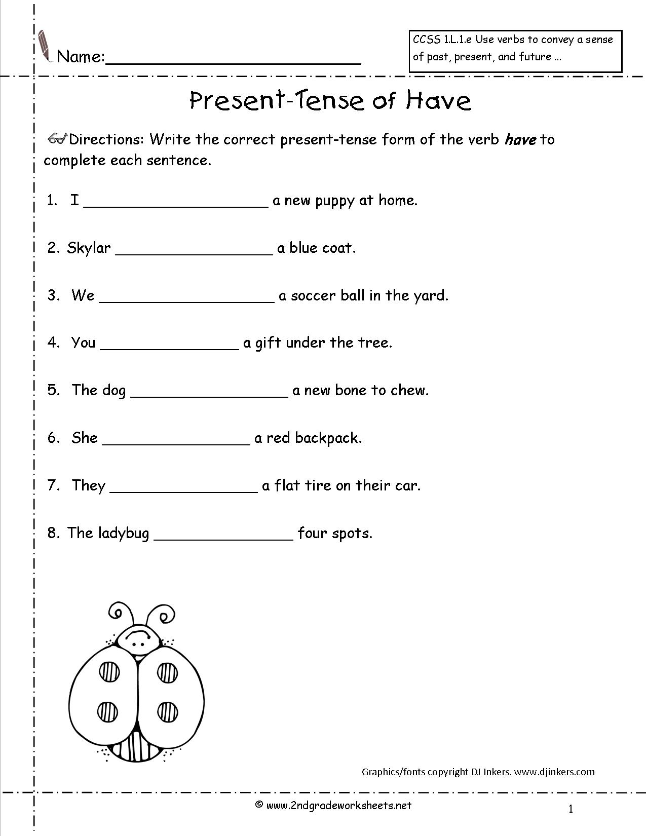 Verb Tenses Worksheet Middle School