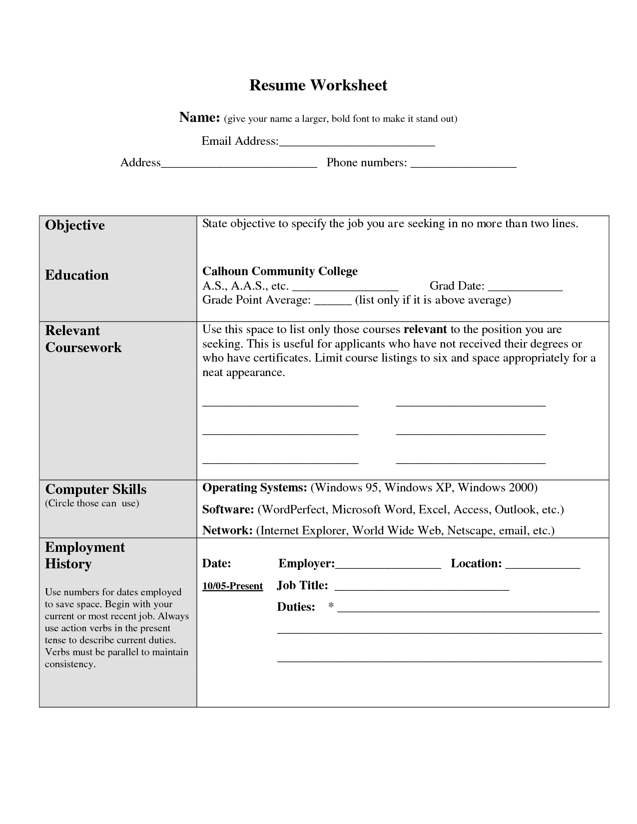 Worksheet For Making A Resume