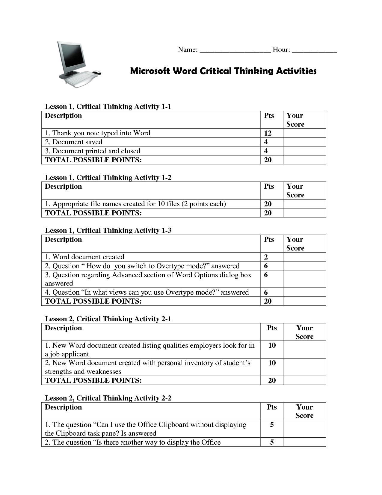 Choosing A Career Worksheet