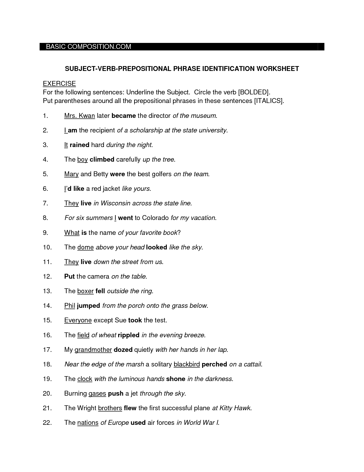 14 Best Images Of Preposition Sentences Worksheets
