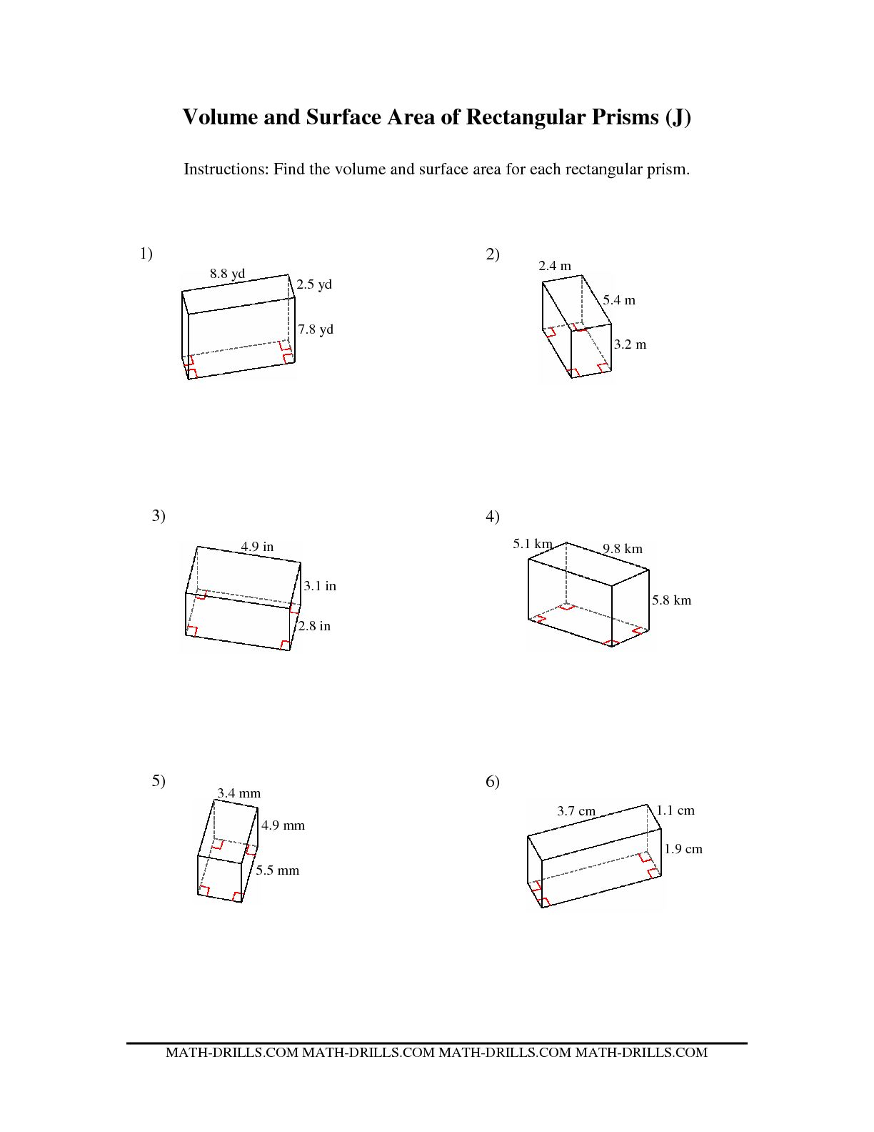 Worksheets Surface Area Of Rectangular Prism Worksheet
