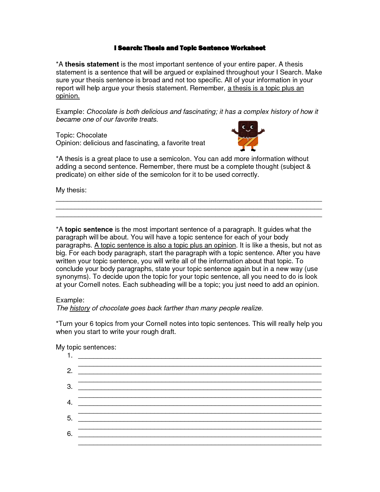 11 Best Images Of Topic Sentence Worksheets