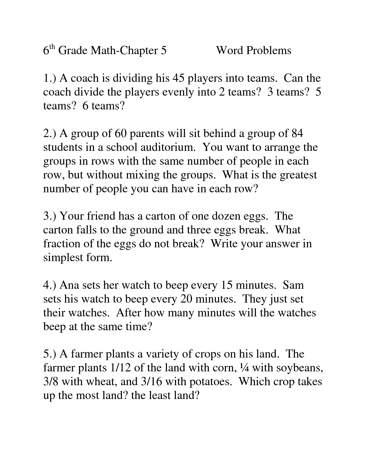 Fifth Grade Algebra Worksheet