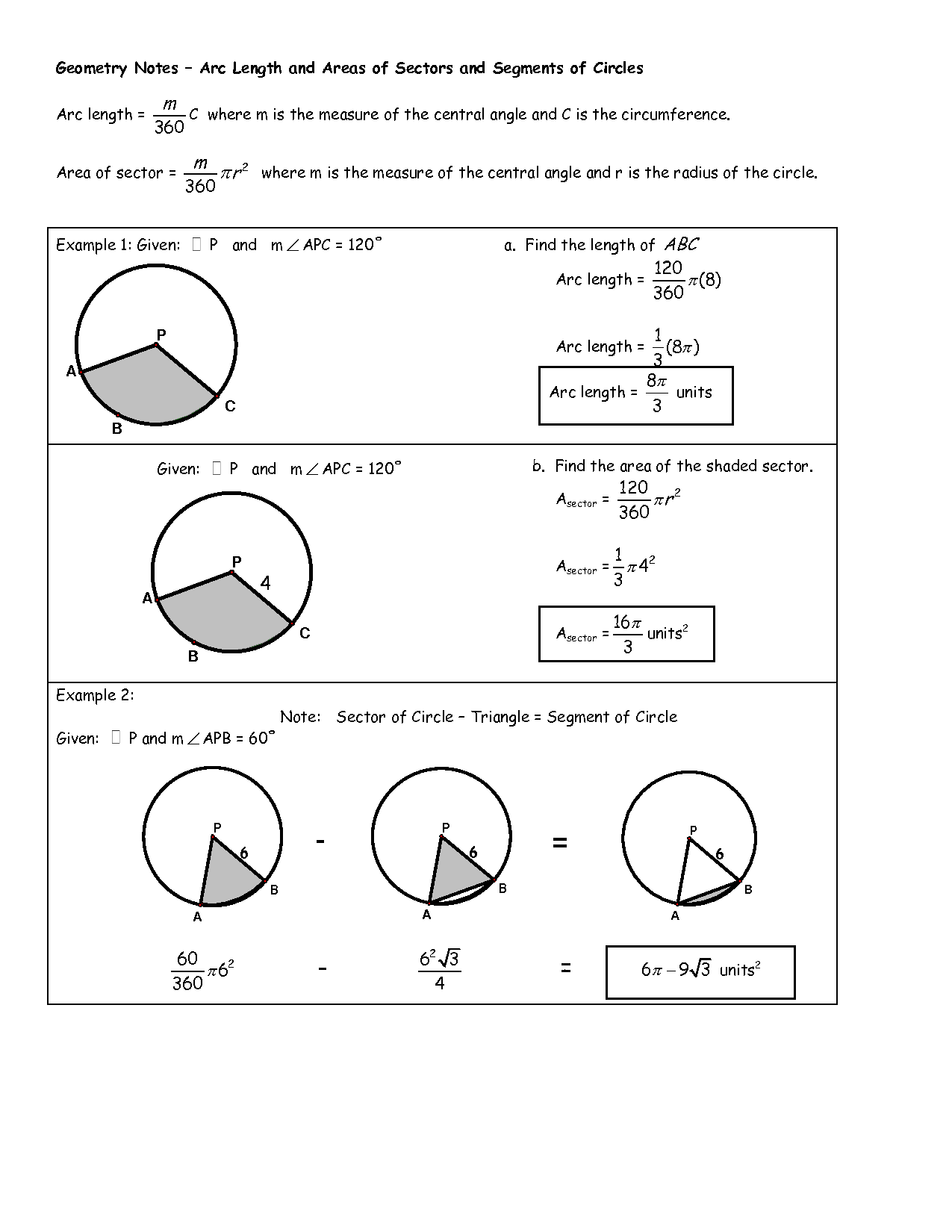 Arc Geometry Circle Worksheets And Pictures To Pin On