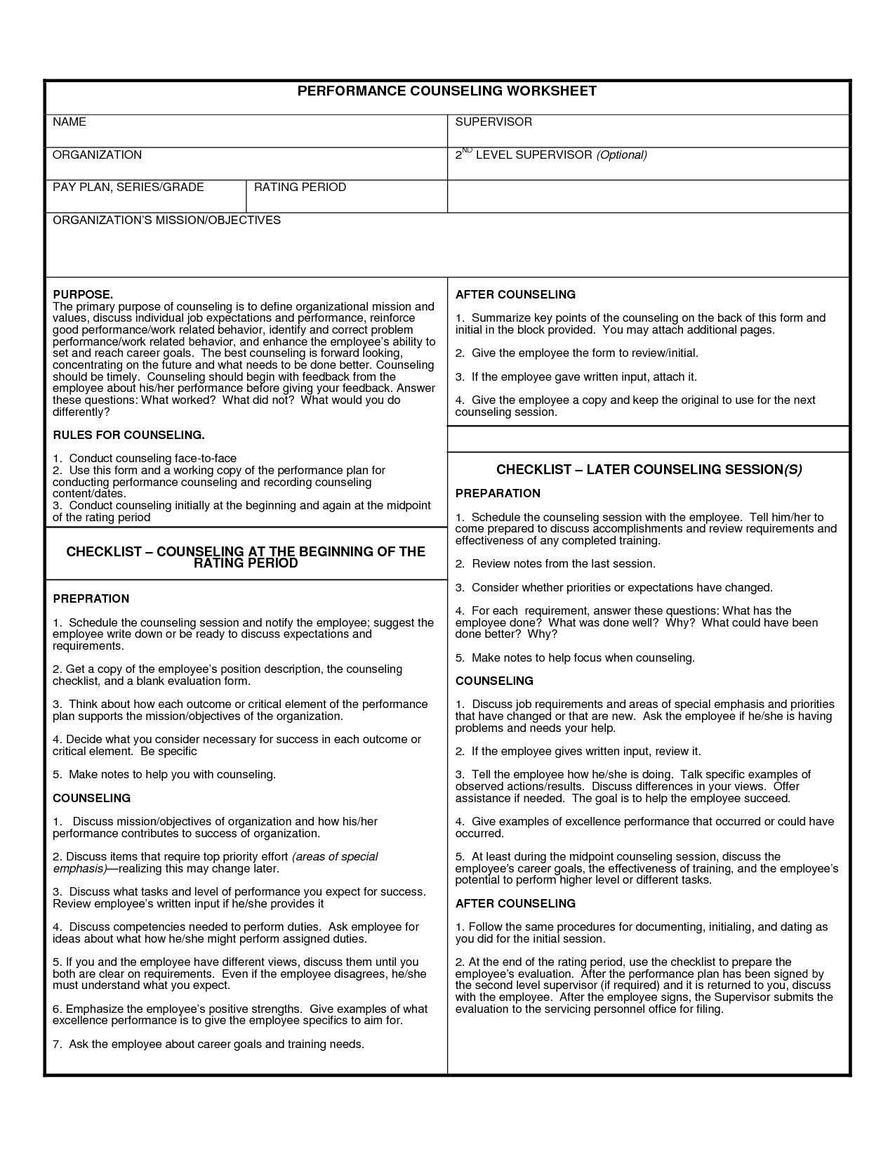 worksheet Counseling Worksheet Usmc da form 4856world of forms world counselor premier images career values worksheet marine corps