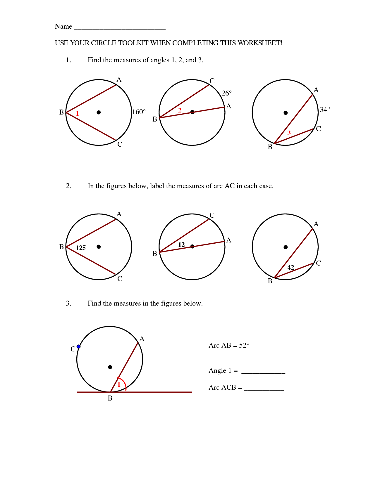 Arc Geometry Circle Worksheets And Pictures To Pin