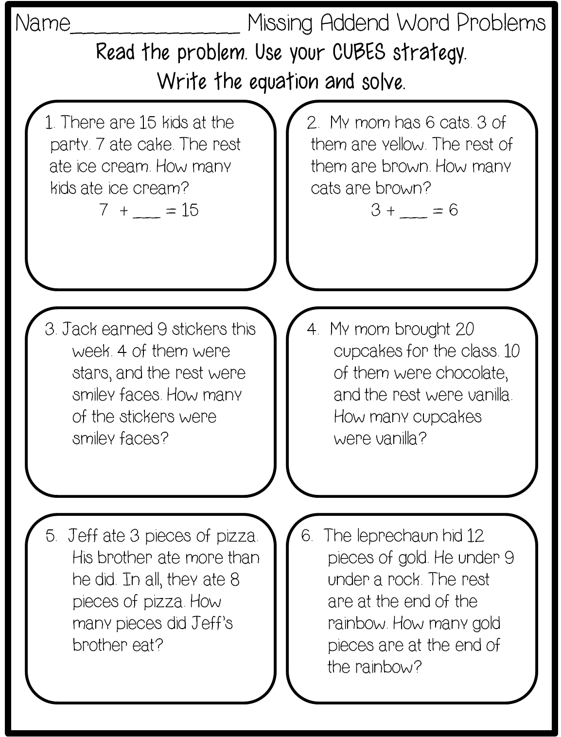 1st Grade Money Word Problem Worksheets