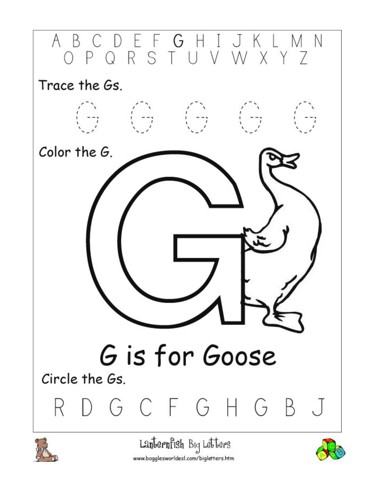 12 Best Images Of Letter G Worksheets For Pre K