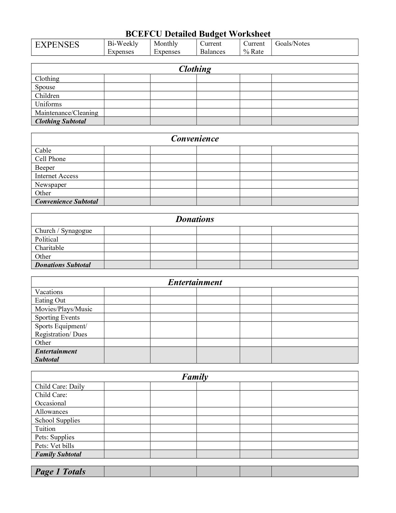 11 Best Images Of Blank Budget Sheet Printable Worksheet