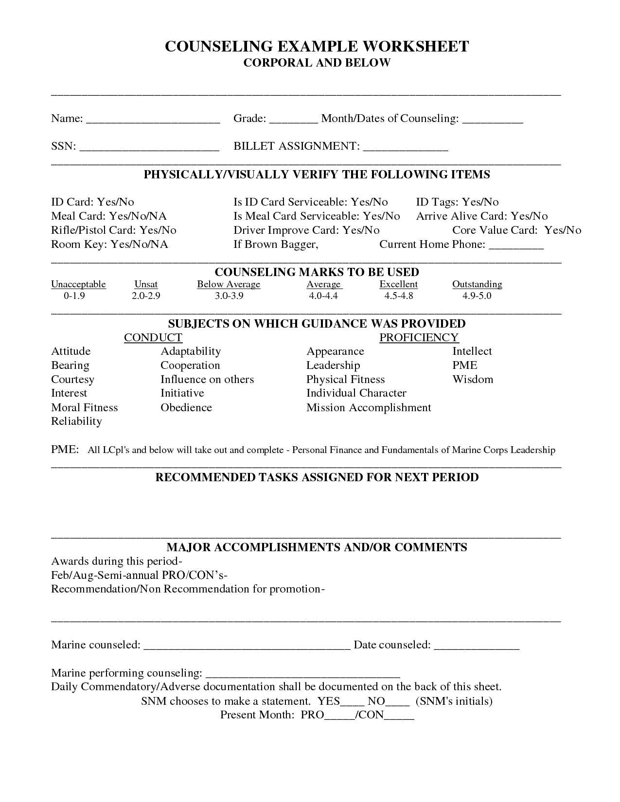 Free Worksheet Marine Counseling Worksheet marine corps resume help erin swanson counseling sheet via