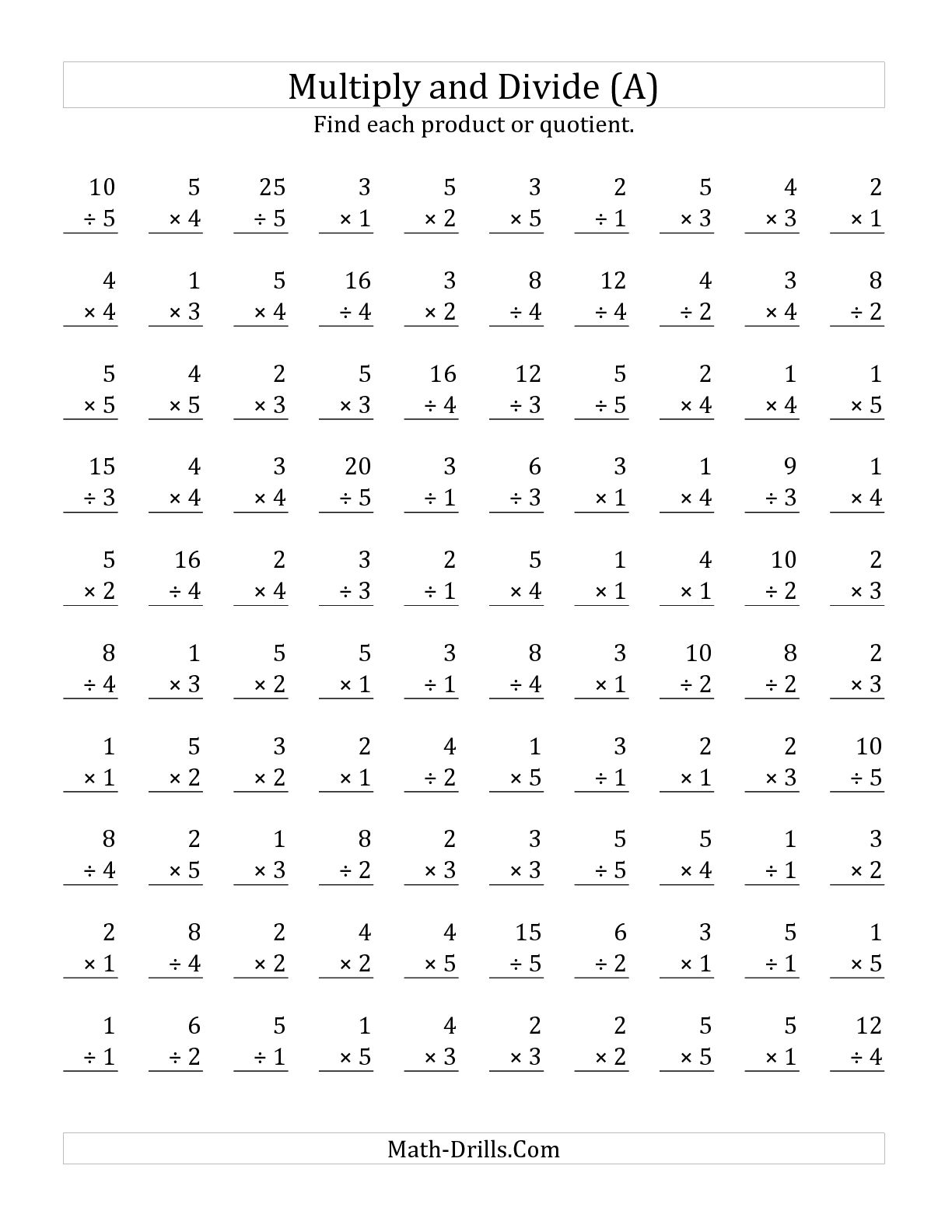 14 Best Images Of Multiplication And Division Worksheets