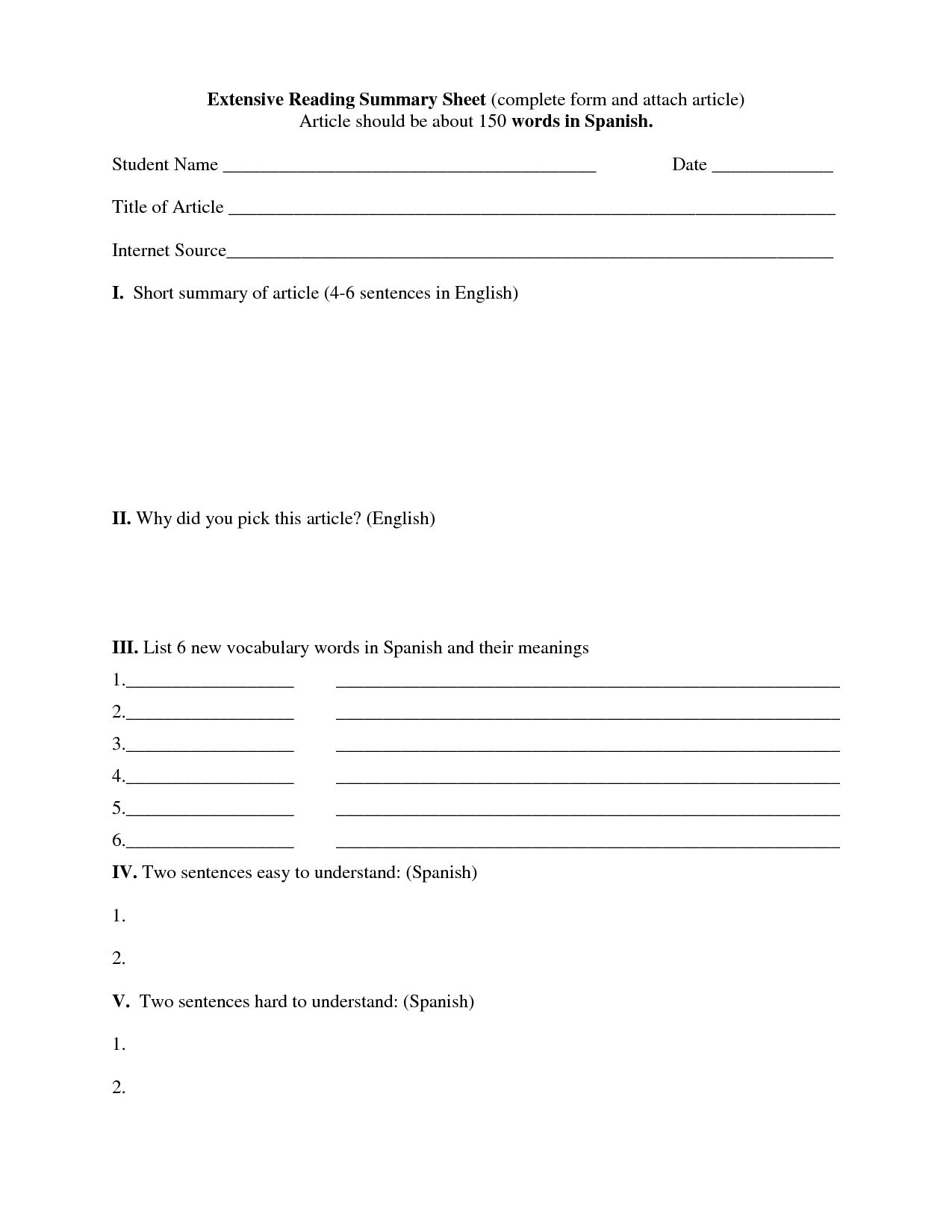 12 Best Images Of Reading Summary Worksheets