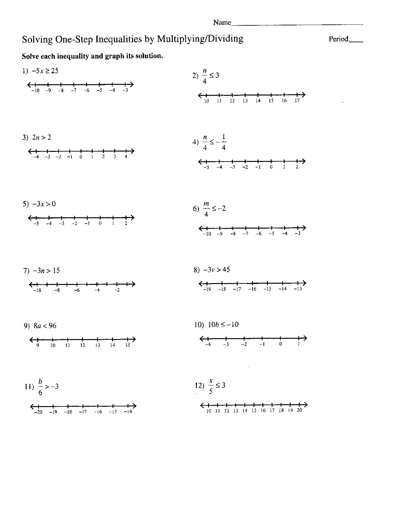 Solving Inequalities Practice Worksheet