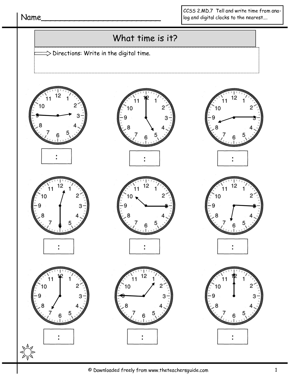 Time Worksheet Category Page 1
