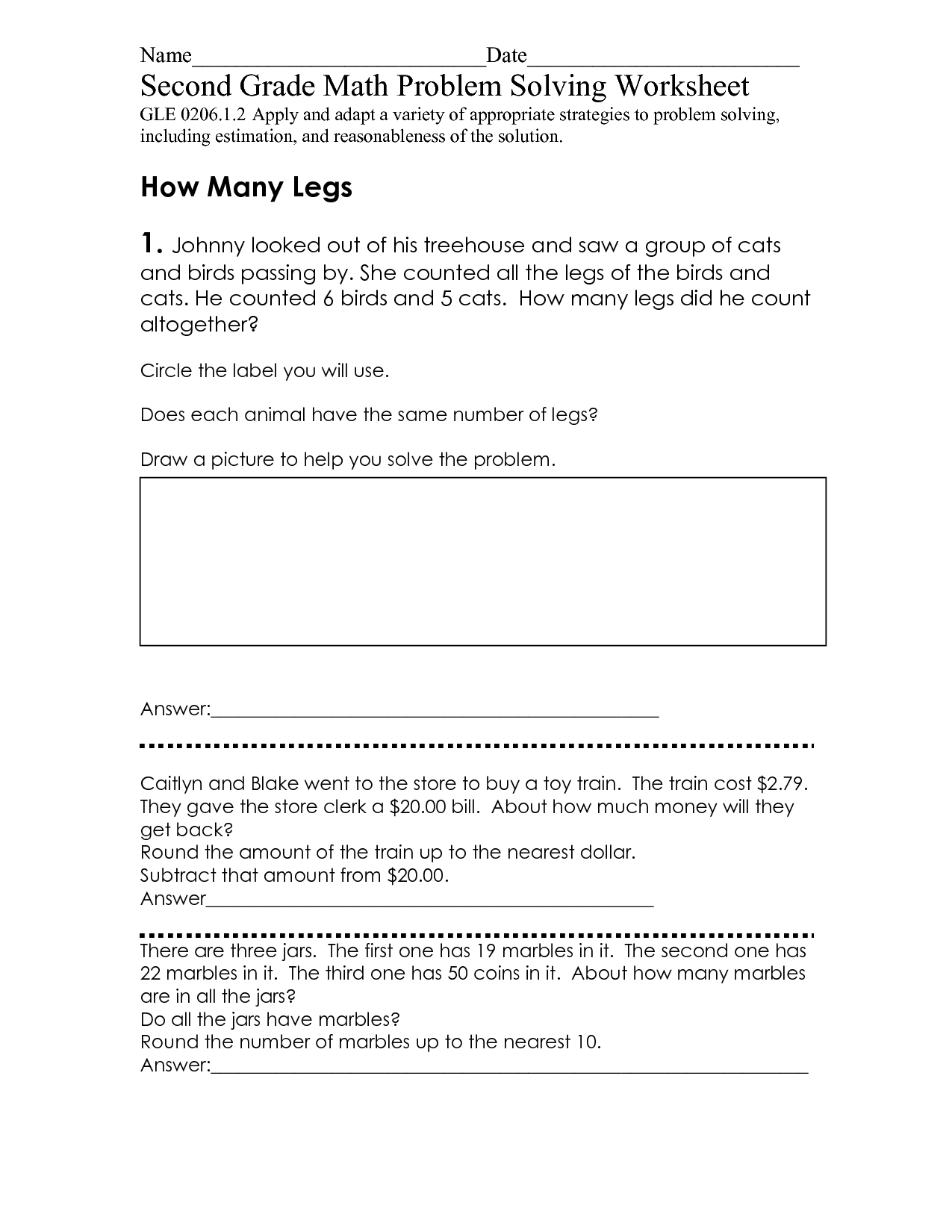 Grade 4 Math Problem Solving Worksheet