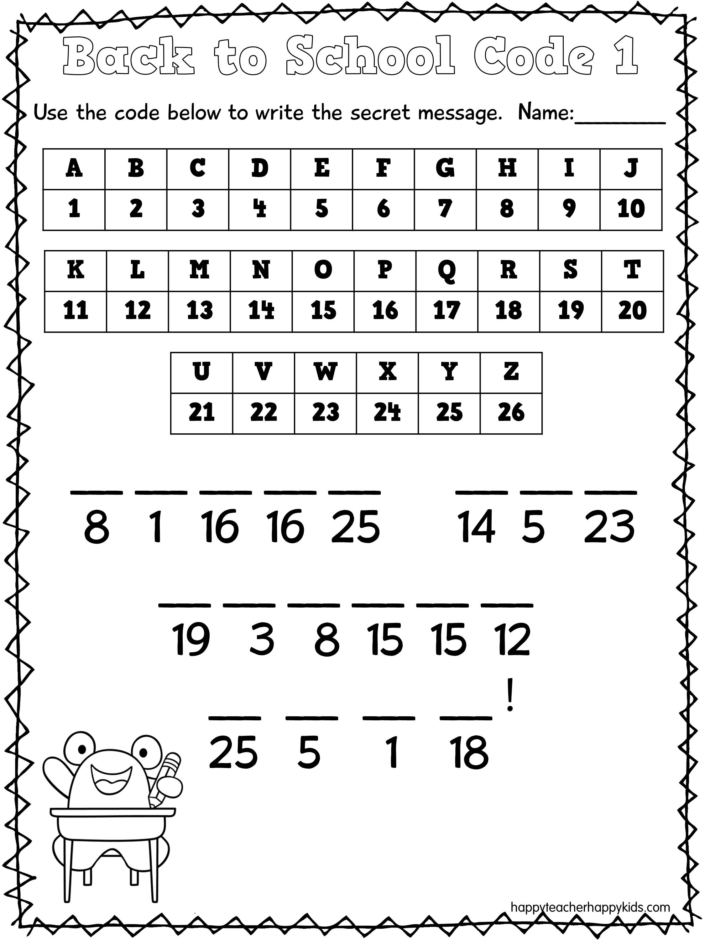 12 Best Images Of Secret Code Worksheets