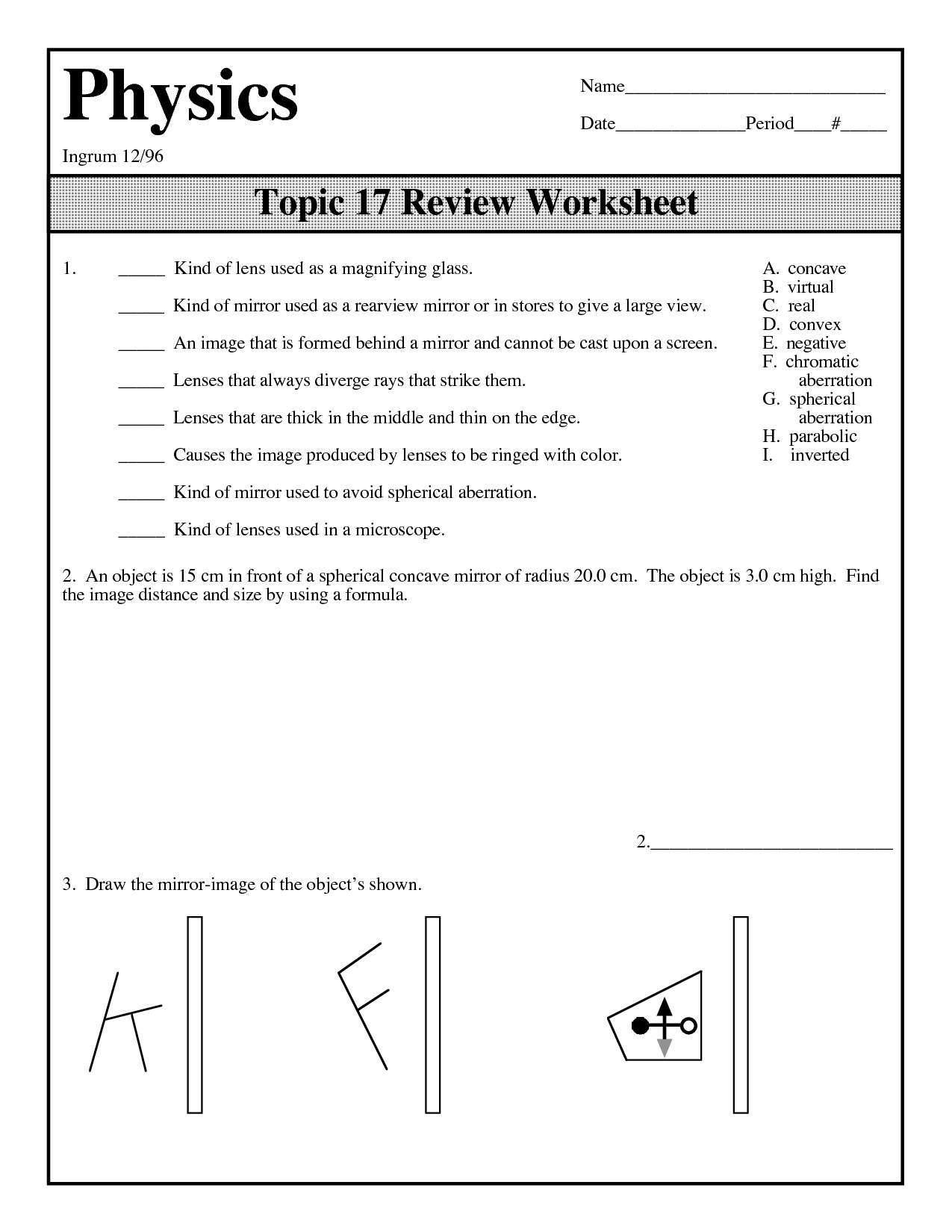 Worksheet Images In Plane Mirrors Answers