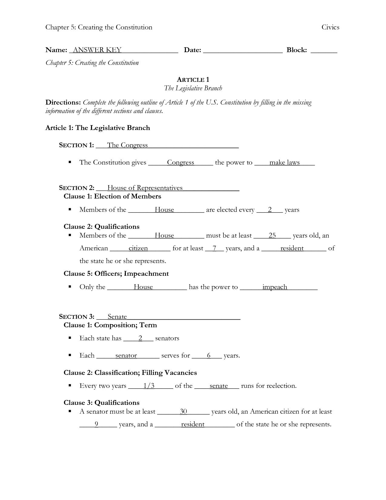 The Preamble Worksheet Answer Key