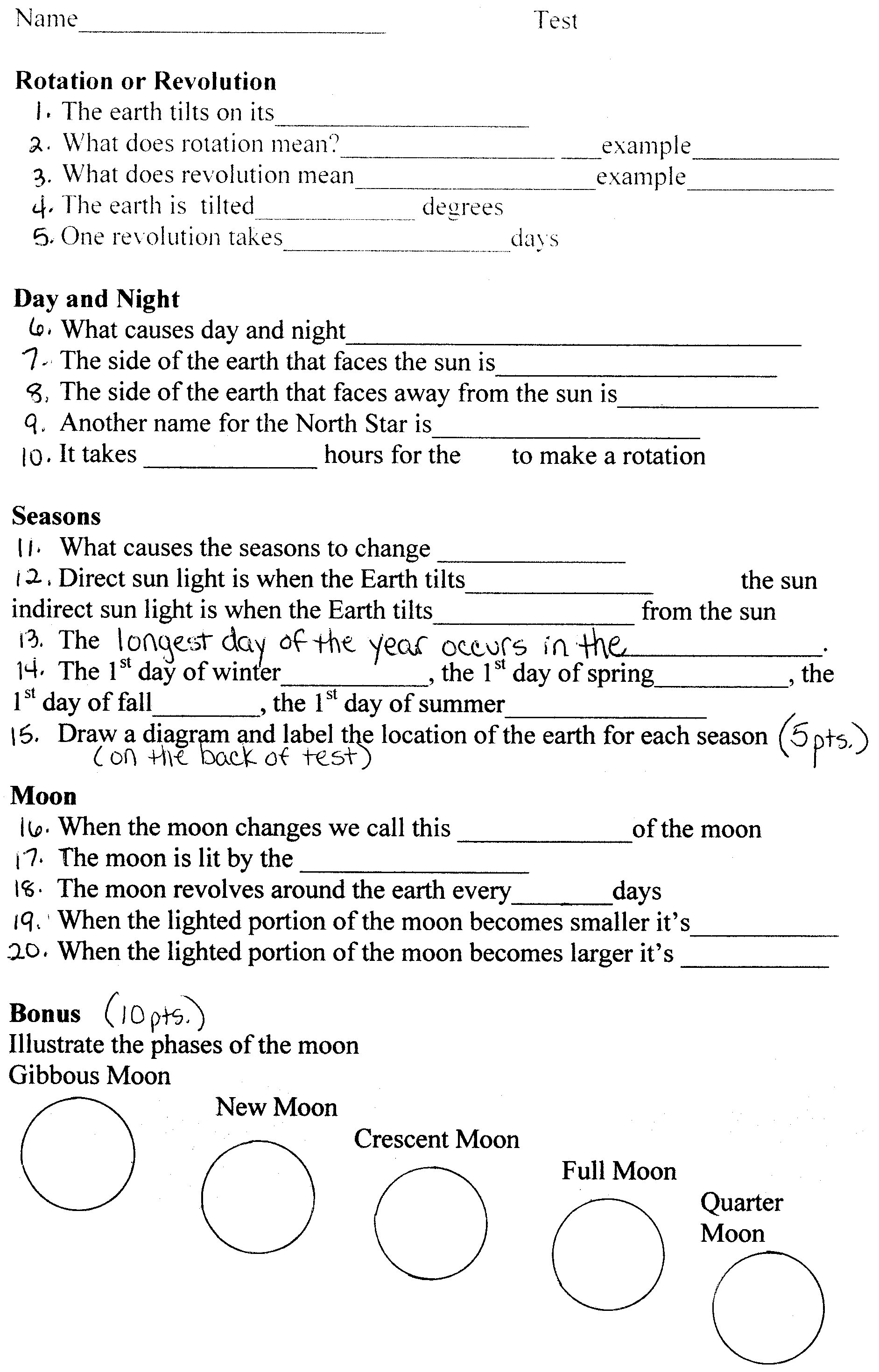 Motions The Earth Worksheet