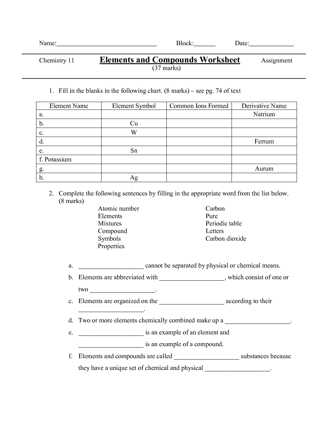 17 Best Images Of Elements Compounds And Mixtures Worksheet Element Compound Mixture Worksheet