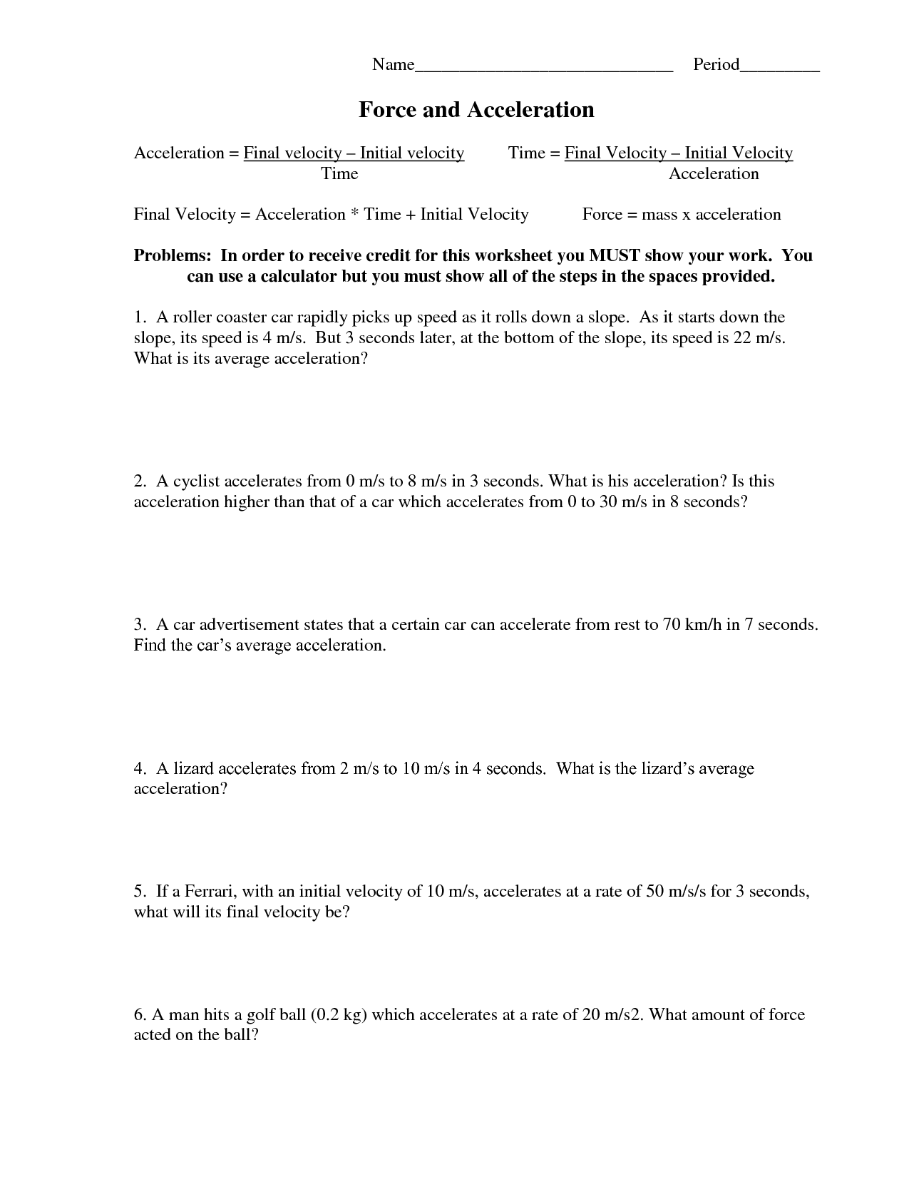 6 Best Images Of Net Force And Acceleration Worksheet