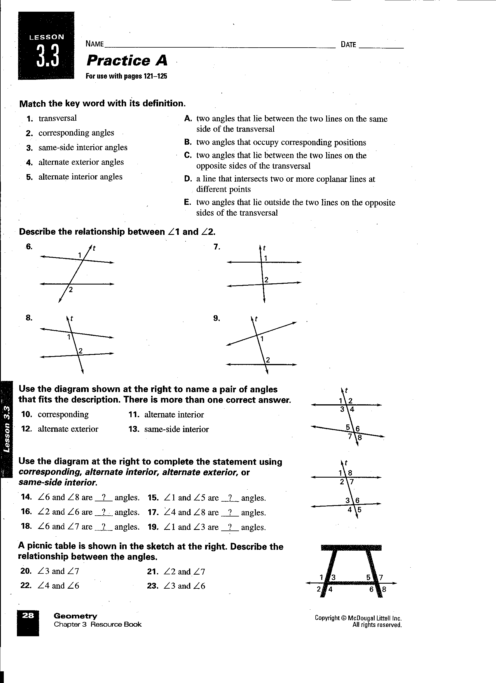 14 Best Images Of Chapter 1 Geometry Worksheets