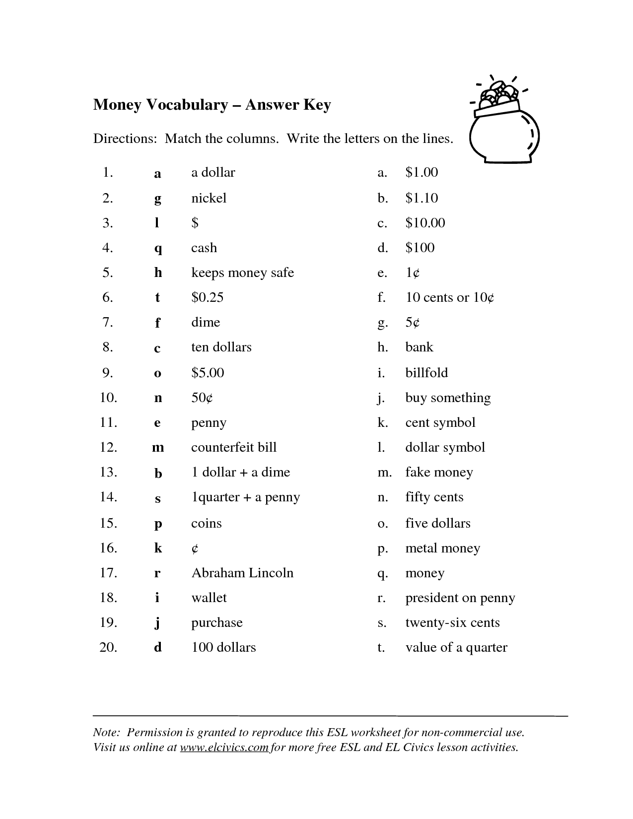 9 Best Images Of Money Matching Worksheets