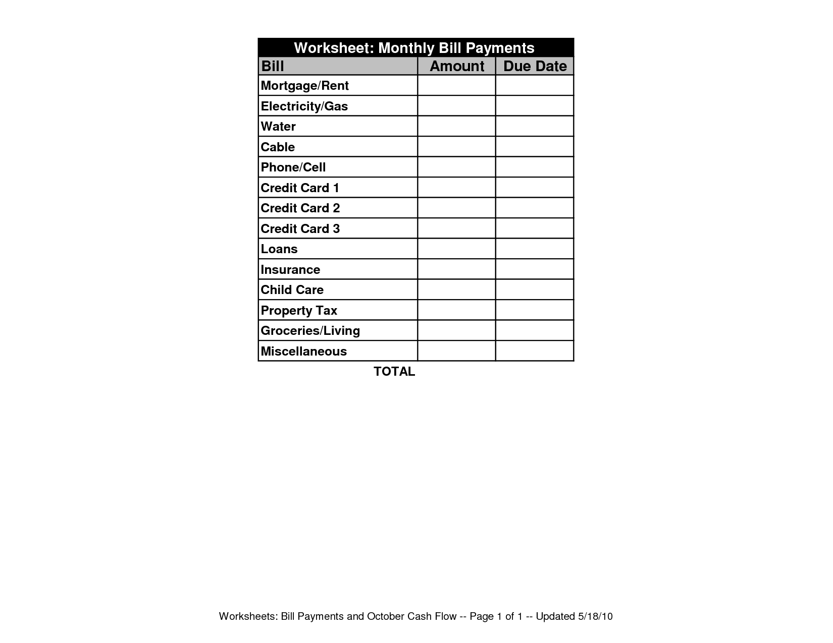 F Fillable Monthly Bill Payment Worksheet