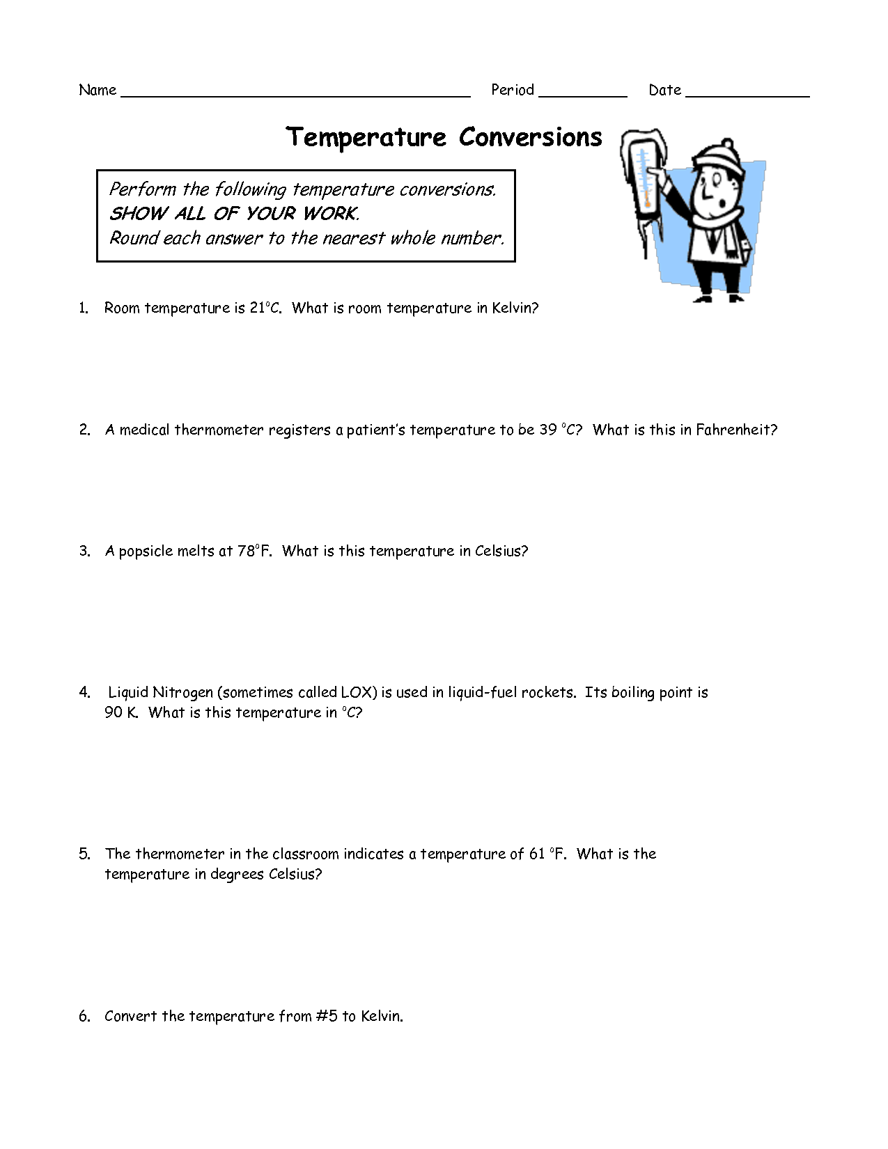 34 Temperature Conversion Worksheet Answer Key