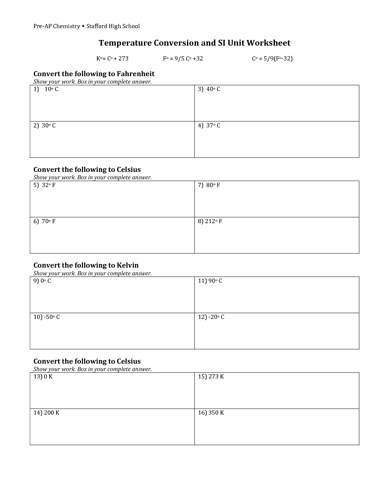 34 Temperature Conversion Worksheet Kelvin Celsius