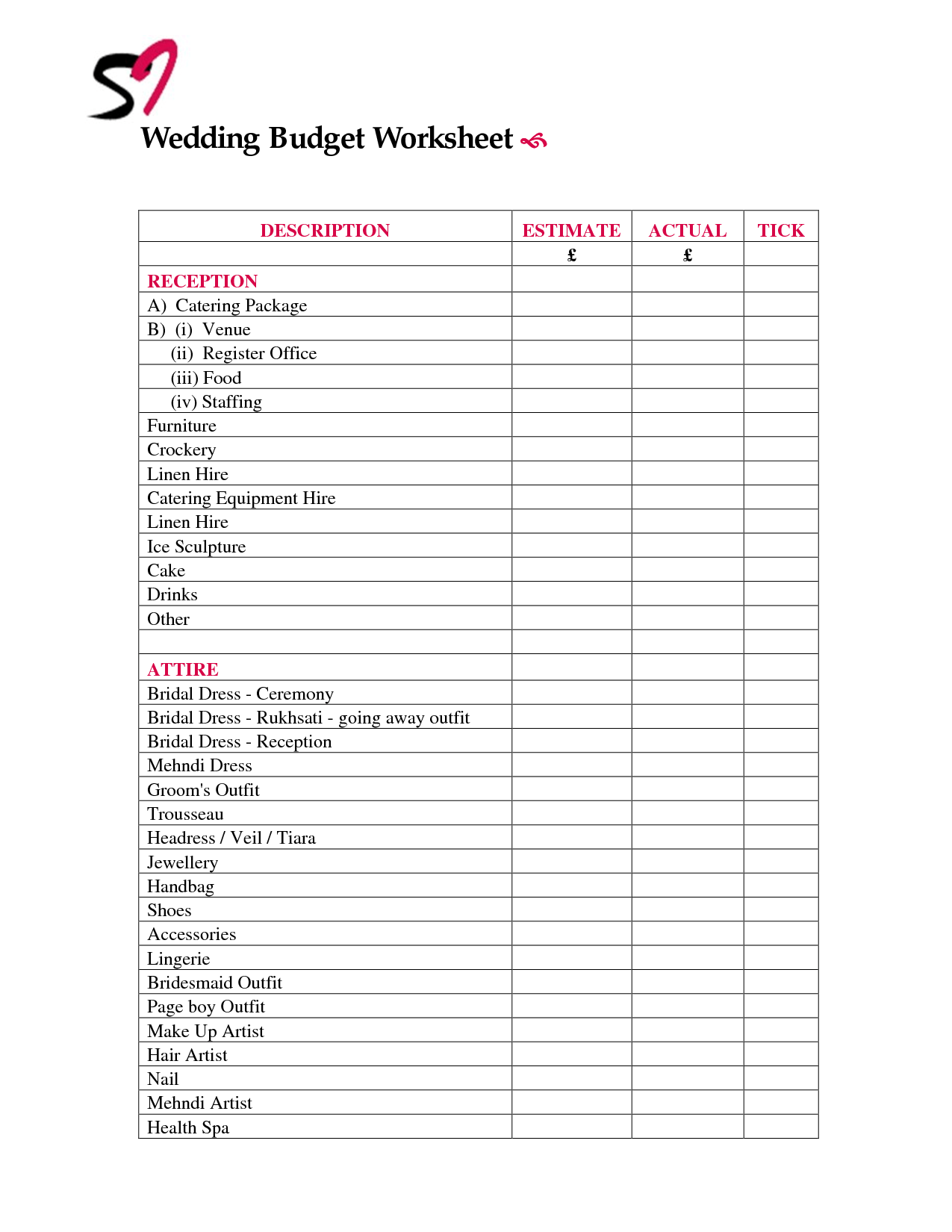 33 Wedding Reception Planning Worksheet