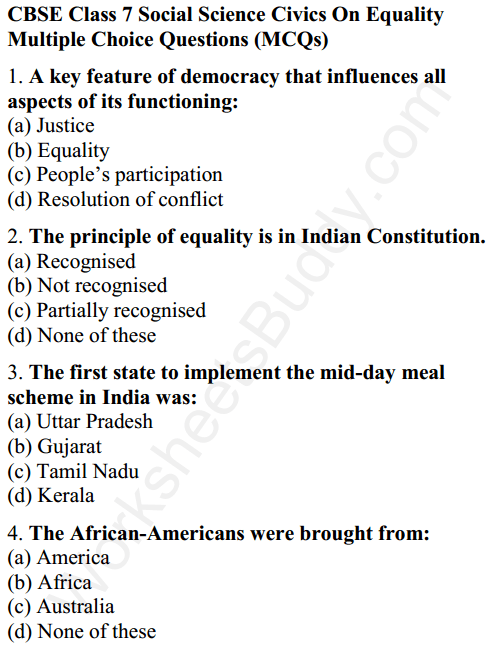 CBSE Class 7 Social Science Civics On Equality Worksheets 1